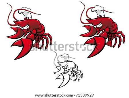 Smiling red crayfish chef isolated on white - also as emblem. Vector version also available in gallery - stock photo