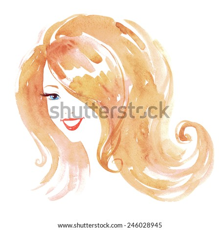 Smiling retro styled young woman. Watercolor illustration. - stock photo