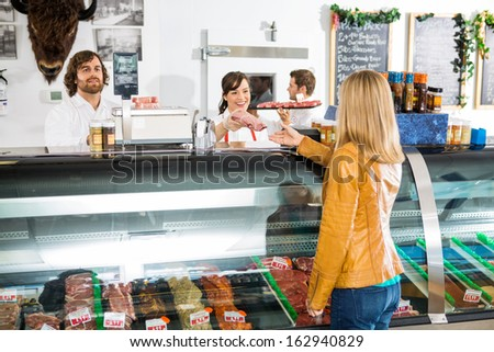 Smiling saleswoman giving meat to female customer at butcher's shop - stock photo