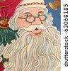 Smiling Santa Claus head , detailed, texture - stock photo