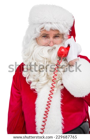 Smiling santa claus on the phone on white background