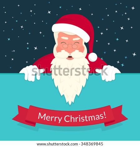 Smiling Santa Claus wearing red hat and glasses and ribbon with merry chrismas text. Greeting card or flyer template design with copy space - stock photo