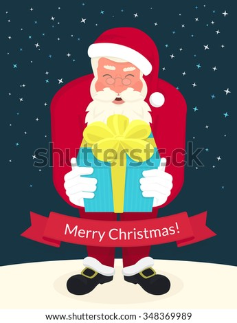Smiling Santa Claus wearing red hat and glasses holds a gift in his hands and ribbon with merry chrismas text below. Greeting card or flyer template design - stock photo