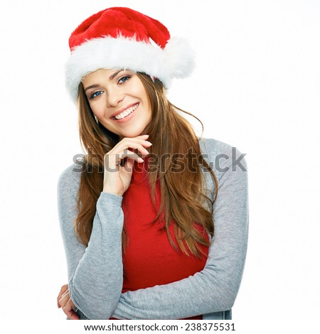 smiling santa girl studio portrait isolated on white background. red Christmas hat. young female model with long hair.