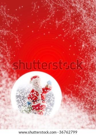 Smiling Santa in snow globe - stock photo