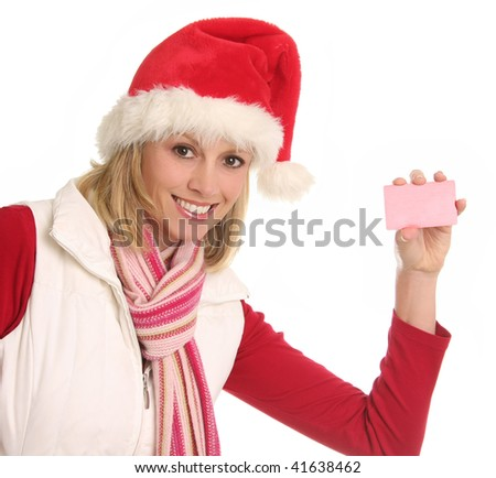 Smiling Santa lady showing gift or credit card. Add your own text. Clipping path for card included. - stock photo