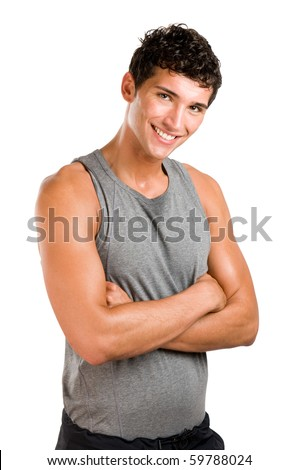 Smiling satisfied active young man looking at camera isolated on white background - stock photo
