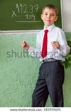 Smiling schoolboy at blackboard with chalk - stock photo