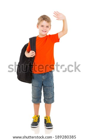 smiling schoolboy with backpack waving goodbye - stock photo