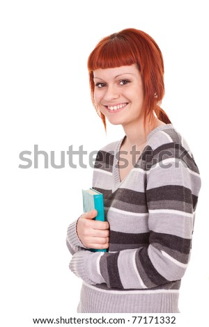smiling schoolgirl student standing and holding book, isolated on white - stock photo