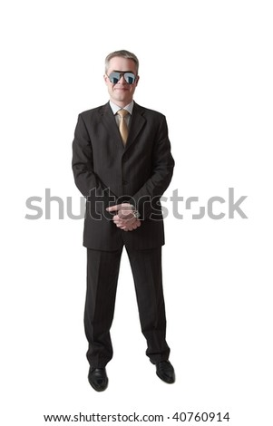 smiling security guard in mirror glasses