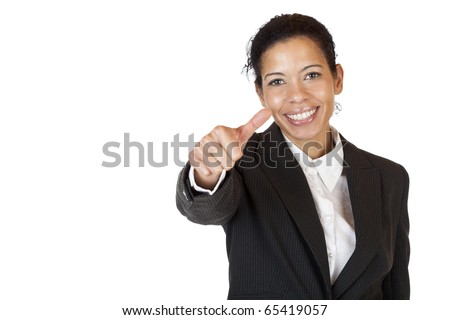 Smiling self confident business woman shows thumb up. Isolated on white background. - stock photo