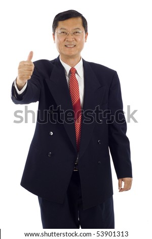 Smiling senior Asian business man showing thumbs up sign isolated over white background