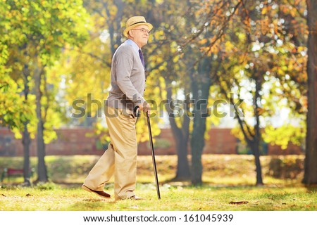 Smiling senior gentleman walking with a cane in a park, in autumn - stock photo