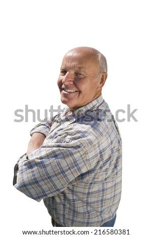 Smiling senior man with arms crossed