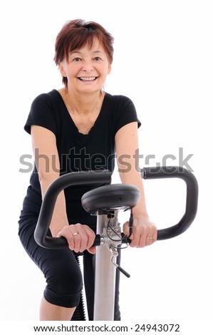 smiling senior woman - isolated - stock photo