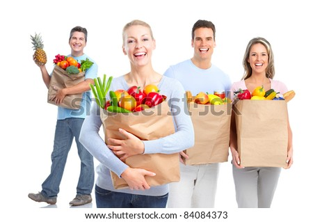 Smiling shopping people. Isolated over vhite background. - stock photo