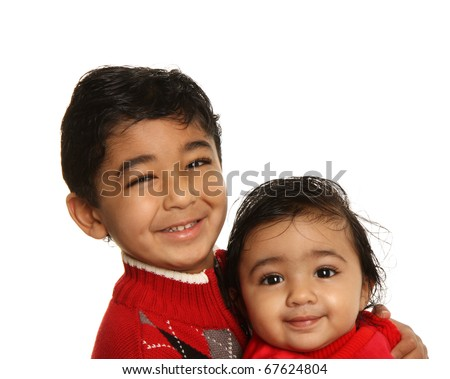 Smiling Siblings - Older Brother Holding Baby Sister, Isolated, White - stock photo