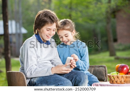 Smiling siblings using cellphone while sitting on chairs at campsite - stock photo