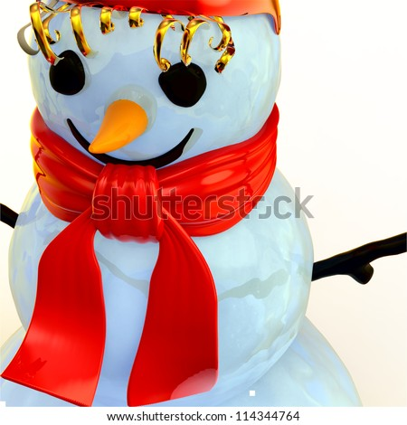 smiling snowman as a symbol of winter holidays