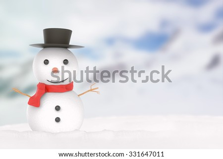 smiling snowman 3d rendered - stock photo