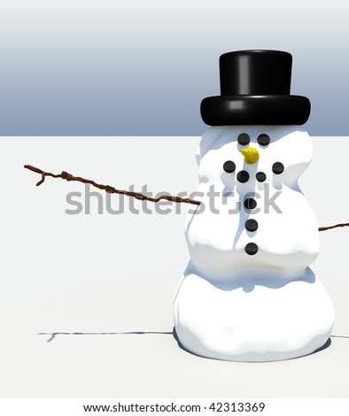 Smiling snowman illustration against simple background with whitespace - stock photo