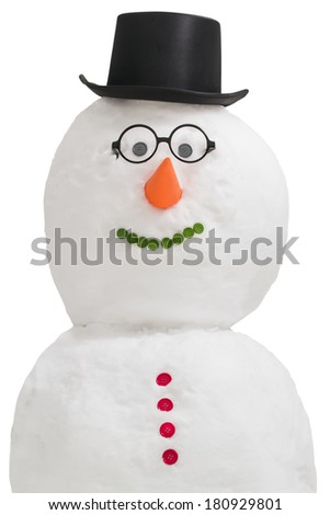 Smiling snowman isolated on a white background - stock photo