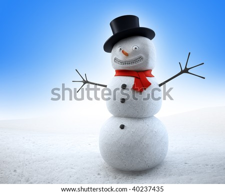 Smiling snowman with a red scarf and a top-hat - stock photo