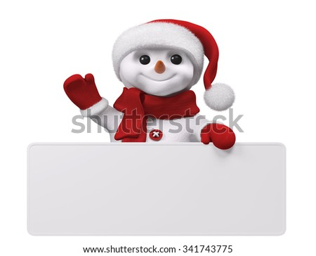 Smiling snowman with red santa hat holding blank poster isolated over white 3d rendering - stock photo