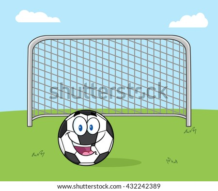 Smiling Soccer Ball Cartoon Mascot Character With Football Gate. Raster Illustration With Background - stock photo