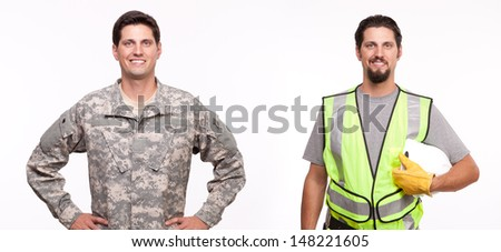 Smiling soldier and construction worker posing  - stock photo
