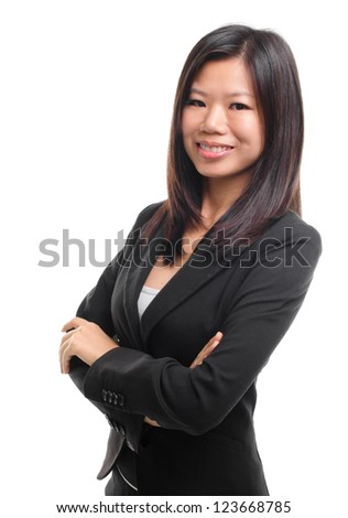 Smiling Southeast Asian Educational / Business woman over white background - stock photo