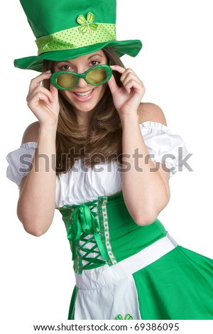 Smiling St Patricks Day Woman - stock photo