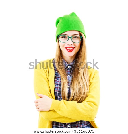 Smiling Street Style Hipster Girl Isolated at White Background. Trendy Casual Fashion Outfit in Spring.