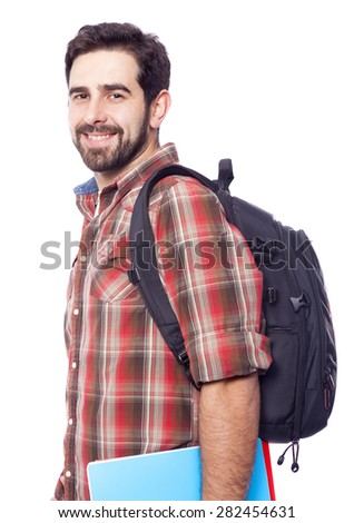 Smiling student isolated on a white background