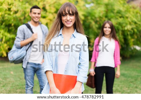 Smiling student outdoor portrait
