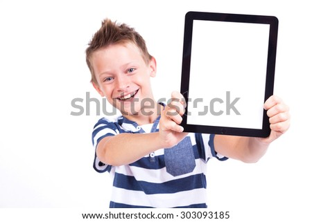 smiling student with a tablet in his hand screen to the client on a white background shows the application photo with depth of field - stock photo