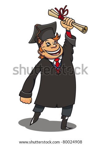 Smiling student with diploma for education concept or design. Vector version also available in gallery