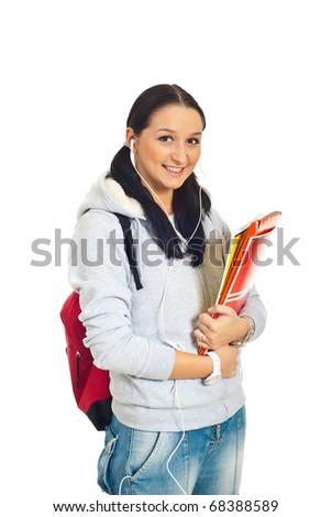 Smiling student woman holding notebooks  isolated on white background - stock photo