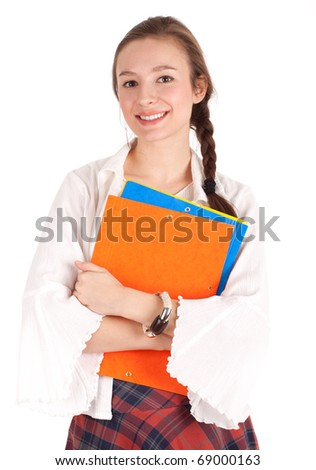 smiling student woman in bright blouse  with note pads