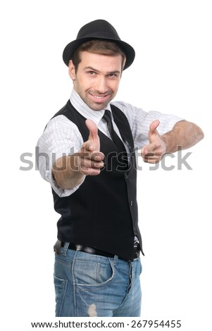 Smiling stylish caucasian man pointing his fingers at the camera. Isolated over a white - stock photo