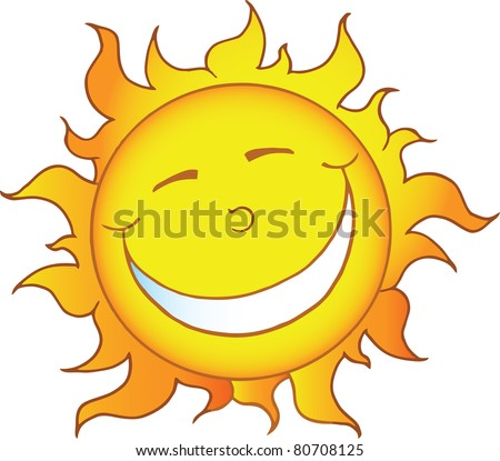 Smiling Sun Cartoon Character. Vector version is also available - stock photo