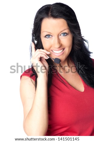 Smiling support phone female operator