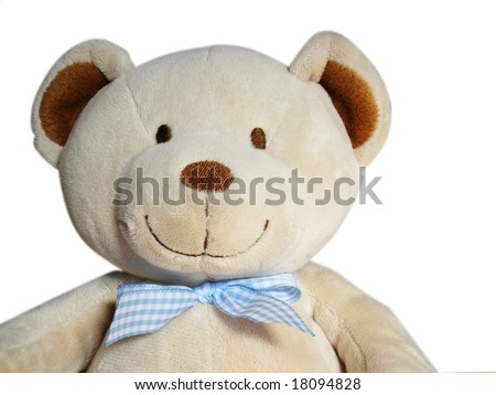 smiling teddy bear with blue ribbon - stock photo
