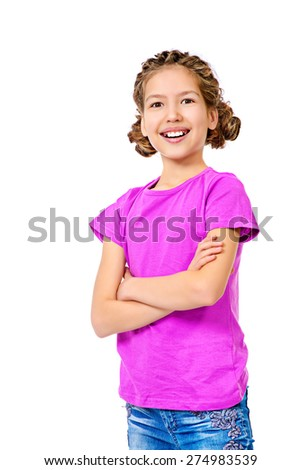 Smiling teen girl wearing casual clothes. Active lifestyle. Studio shot. Isolated over white. - stock photo