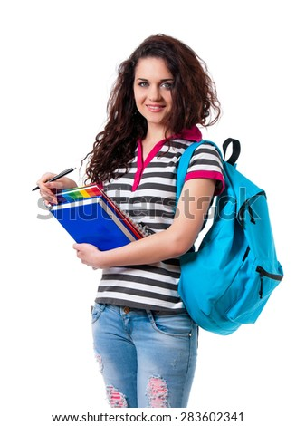 Smiling teen girl with backpack isolated on white background  - stock photo
