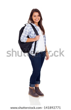 smiling teen high school girl with backpack isolated on white background - stock photo