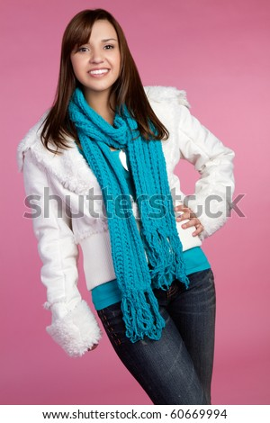 Smiling teen winter fashion girl - stock photo