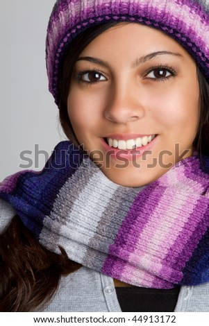 Smiling Teen Winter Girl - stock photo