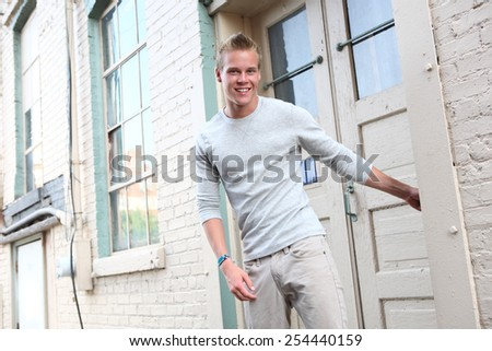 Smiling teenage boy - stock photo